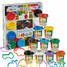 22 Piece Play Dough 10 Tubs & 12 Shape Cutters Kids Putty Craft Set Toy