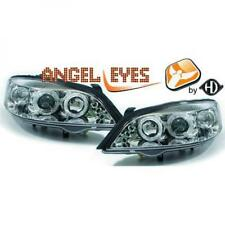 LHD Projector Headlights Pair Angel Eyes Clear Chrome Round For Vauxhall Astra