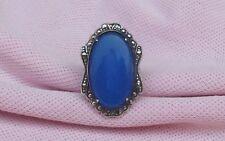 Vintage Antique Art Deco Sterling Silver Marcasite Long Blue Cocktail Ring S 4.5