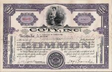 Stock certificate Coty Int Corp. to Comission &Commercial Bank in Amsterdam 1939