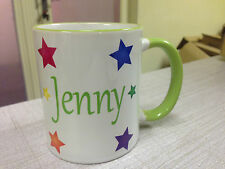 YOUR NAME WITH STARS MUG FUN COFFEE CUP PERSONALISED BOTH SIDES GIFT BOXED