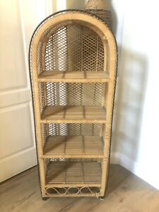 Vintage Wicker Rattan Peacock Shelf Boho Arched Stand Natural Etagere Organic