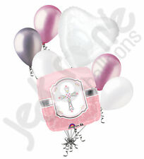 7 pc Communion Blessing Pink Girl Balloon Bouquet Religious Ceremony Baptism