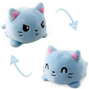 New Reversible Blue Cat Gato Kids Plush Toy Double-Side Flip Squid Stuffed