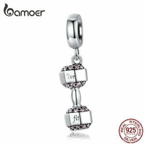 BAMOER European CZ Dumbbell Charm Bead S925 Sterling silver Fit Bracelet Jewelry