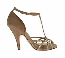 NEW $1000 DOLCE & GABBANA Beige Suede Crystal Mary Janes Heels Shoes EU37.5/ US7