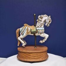 Willits Music Box Carousel Horse White Porcelain Plays Carousel Waltz
