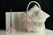 Blush Pink Flower Girl Baskets and Ring Bearer Pillow Set