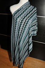 """AUTH NEW $250 MISSONI XL Knit Wool Blend Blue Scarf  Wrap 22""""X76"""" Made in Italy"""