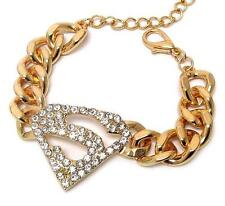 Superman Chunky Chain Link Bracelet with Crystal Accents