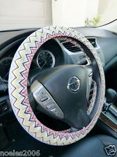 Handmade Steering Wheel Cover Bohemian Multi Color Chevron Zig Zag