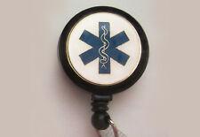 EMT EMS MEDICAL Retractable Reel ID Badge Holder Key chain ring Paramedic medic