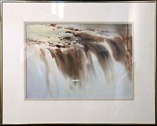 "Doug Lew ""Niagara Falls"" Original Watercolor Painting, waterfall New York Canada"
