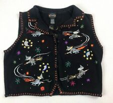 Ugly Halloween Sweater Vest L Large Ramie Witches Embroidered Holiday Spooky