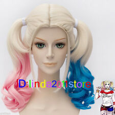 2019 BATMAN Harley Quinn Short pink blue mix short curly Anime Cosplay Hair Wigs