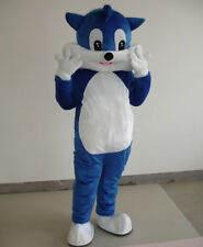 Xmas Animal Costume Blue Cat Mascot Cartoon Adult Dress Up Props Perform Outfits