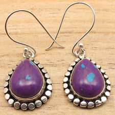 PURPLE COPPER TURQUOISE Gems ART Drop Earrings ! Silver Plated Over Solid Copper