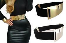 Woman Belt Very Fashion Black Belt Elastic Plate Metal Gold Color
