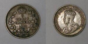 1917 CANADA STERLING SILVER DIME VERY FINE CONDITION INV#438-20
