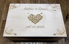 Wooden Engraved Personalised Wedding/ Baby/Keepsake Memory Box SALE