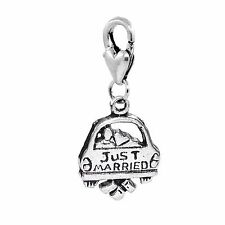 Just Married Car Newlywed Bridal Wedding Honeymoon Clip On Charm for Bracelets
