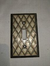 Vintage Faux Mother of Pearl Gold Tone Switch Plate Ornate Art Deco