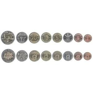 8 COINS FROM LATVIA. 1992-2009. UNC 1 SANTIMS - 2 LATI. BALTIC STATES