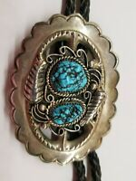 *VINTAGE OLD PAWN * NAVAJO * STERLING SILVER * TURQUOISE  * BOLO TIE * SIGNED *