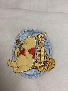 "Disney Baby Pooh Tigger Blanket Blue Fleece Lovey Security soft 12"" x 10"" EUC"