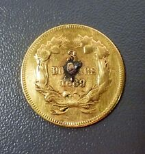1869 $3 Gold Princess Head Love Token Rare Date Mintage 2,525