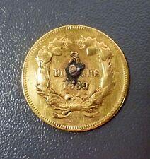 1869 $3 Gold Princess Head Love Token Rare Date Mintage 2,525
