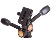 20KG 2-Handle 3-Way Metal Pan head Quick Release Plate for DSLR DV Camera Tripod