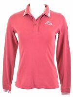 KAPPA Womens Polo Shirt Long Sleeve Size 14 Medium Burgundy Cotton  NA17