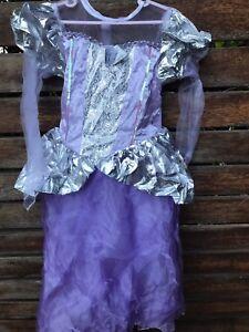 Girl Kids Children Purple Silver Princess Costume Halloween Prom Dress 5-7 Years