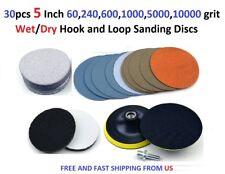 30pcs 5 Inch 60,240,600,1000,5000,10000 grit Wet/Dry Hook and Loop Sanding Discs