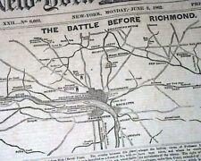 Battle Of Seven Pines Fair Oaks Richmond Campaign Civil War Map 1862 Newspaper