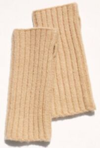 Free People Arm Warmer Fingerless Gloves Ribbed Outside The Lines Tan Nude NEW