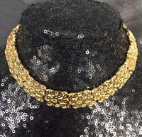 Rare Vintage Sphinx Gold Tone Collar Necklace Chain Link Panel Design c1960s
