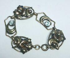 Vintage 12K Rose/Yellow GF Silver Flower Bracelet-Light Blue Rhinestones-Signed