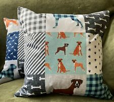 More details for boxer dog luxury cushion patchwork effect in blues & greys 17