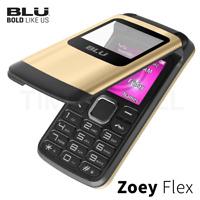 "BLU Zoey Flex Z130 1.8"" Cell Phone Flip VGA Unlocked Dual SIM Gold NEW"