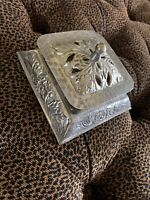 Rare Chased Silver Artistic Covered Floral Square Box Multilayered