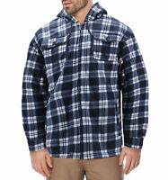 Men's Heavyweight Flannel Zip Up Sherpa Hoodie Navy Jacket w/ Defects - L