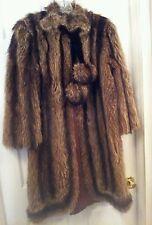Vintage Fur Coat Knee Length Lined Velvet Tie Pom Pom Size Small Preowned