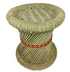 Eco-Friendly Handmade Cane Bar Stool Muddha Outdoor/Indoor Made By Jute Rope