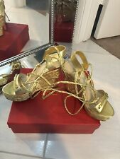 Charles Jourdan gold shoes Wedges Lace Up