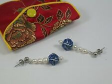 Blue & White Ceramic & Pearl DropperEarrings