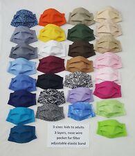 Fabric Cloth Face Mask Washable Nose support Filter Pocket Plain & Soft Tones