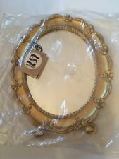 NEW-Vintage Syroco Mirror Oval Desk Top Hanger Gold Frame Bows Made In USA #1943