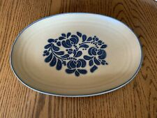 "Pfaltzgraph Folk Art Tan Cobalt Oval Serving Platter 12"" Stoneware Collectable"